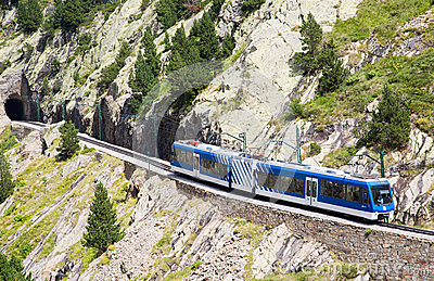 Schneeberg Train Going Up The Mountain In Lower Austria Stock.