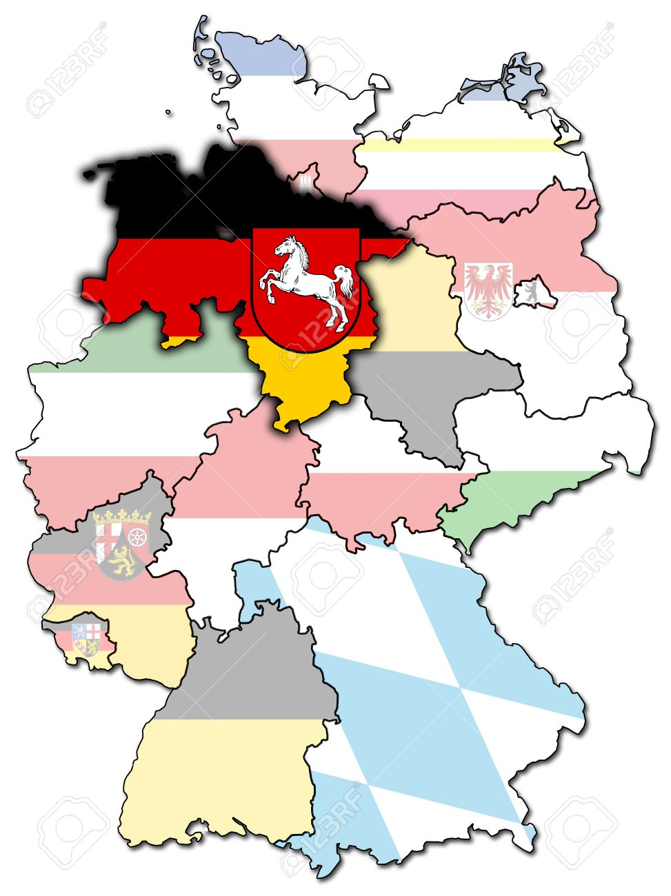 Lower Saxony On Old Administration Map Of German Provinces Stock.