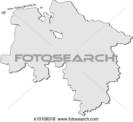 Clip Art of Map of Lower Saxony (Germany) k10108318.