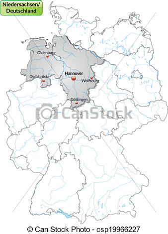 Vector Illustration of Map of Lower Saxony with main cities in.