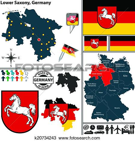 Clipart of Map of Lower Saxony, Germany k20734243.