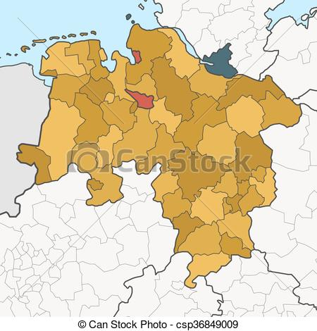 Vector Clipart of Map of Lower Saxony with neighboring federal.