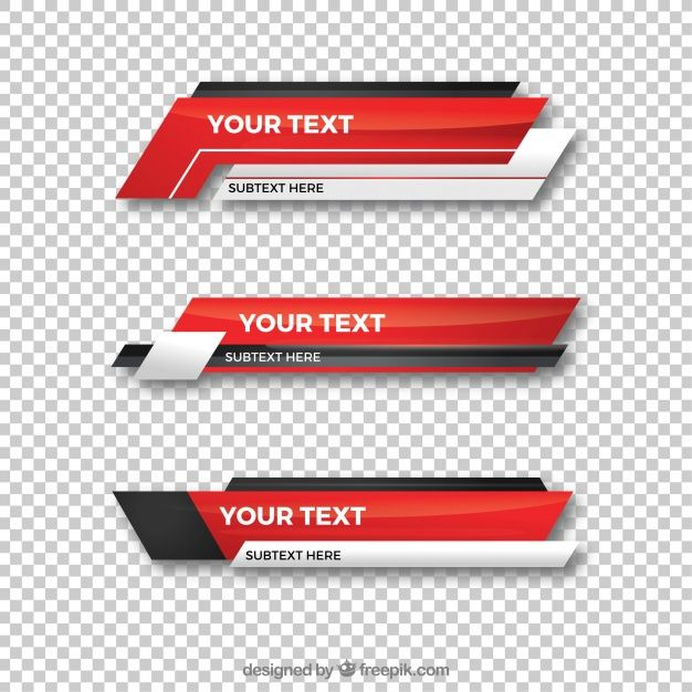 Collection of red lower third Free Vector.