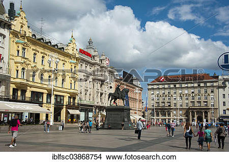 "Stock Photo of ""Ban Jelacic Square, Lower Town, Zagreb, Croatia."