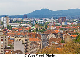 Stock Images of Lower Town of historic part of Zagreb, Croatia.