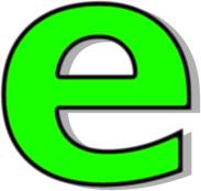 lowercase E green.