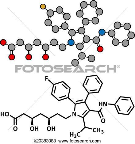 Clip Art of Atorvastatin cholesterol lowering drug (statin class.