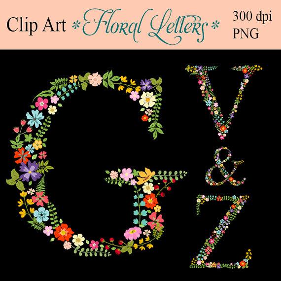 Digital floral monogram Clipart initials lowers by ArtDownload.