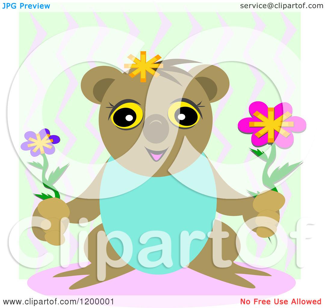 Cartoon of a Happy Koala Holding Lowers over Zig Zags.