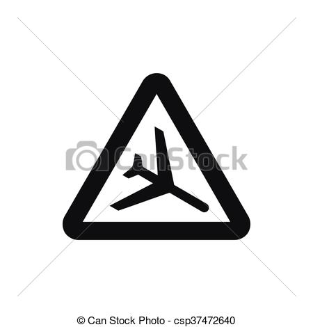EPS Vector of Warning sign of low flying aircraft icon in simple.