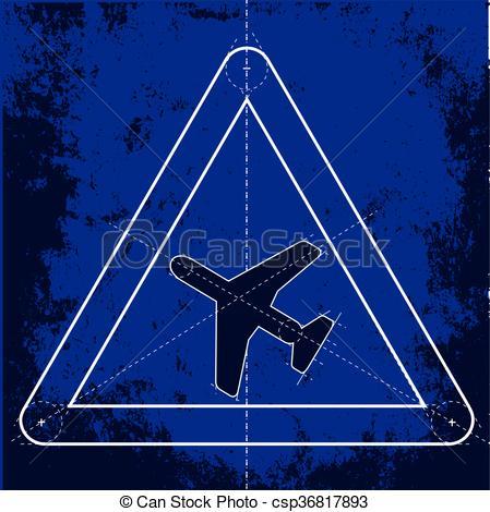 EPS Vectors of Low Flying Aircraft Warning Sign.