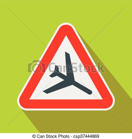 Clip Art Vector of Warning sign of low flying aircraft icon in.
