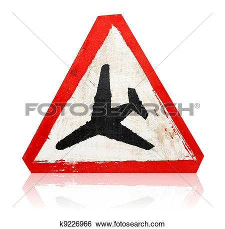 """Stock Images of wooden grungy painted """"low flying aircraft"""" road."""