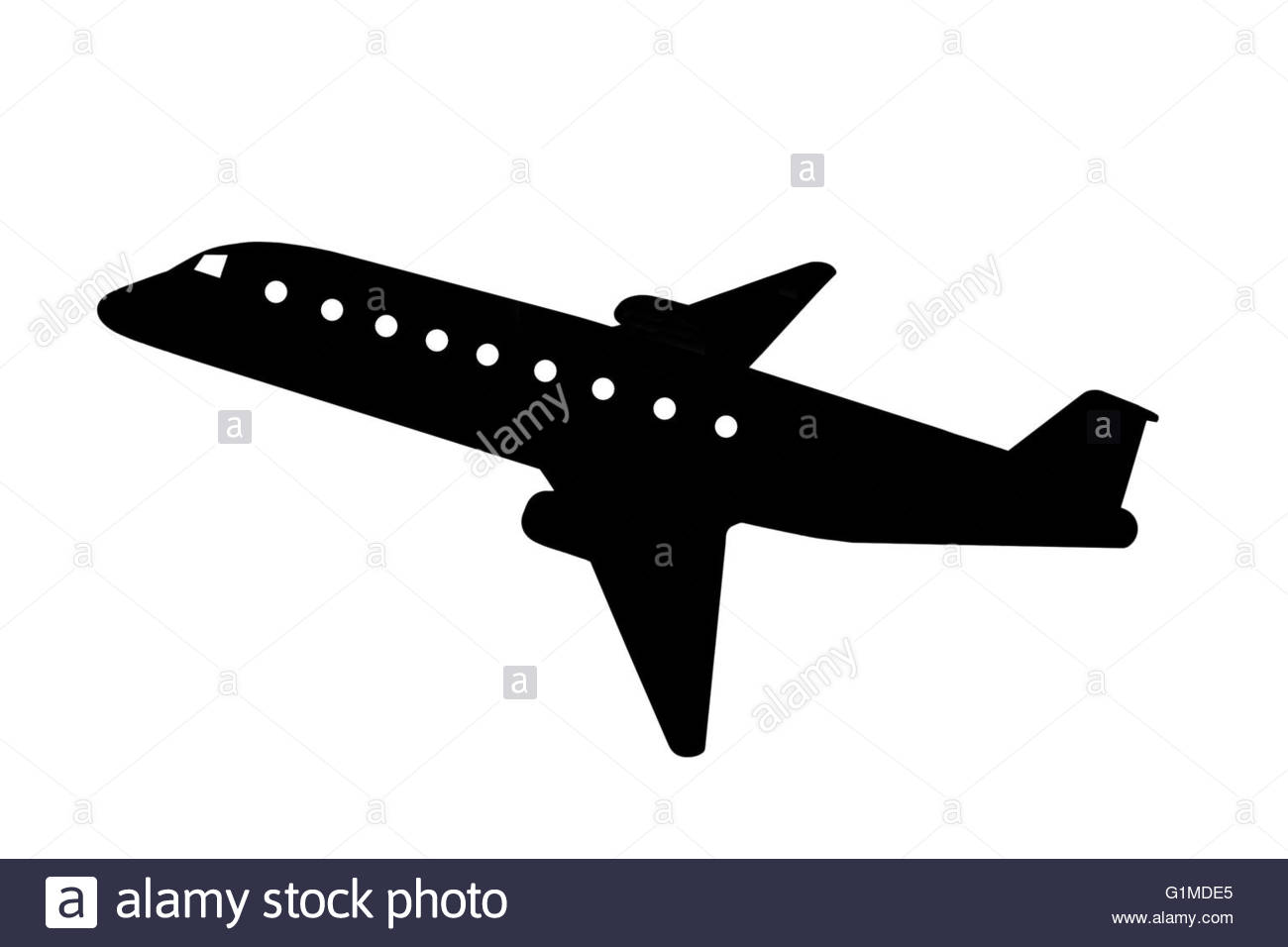 Airport Or Low Flying Aircraft Silhouette As Clip Art Stock Photo.