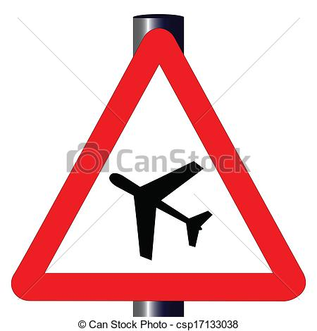 Vectors of Low Flying Aircraft Traffic Sign.