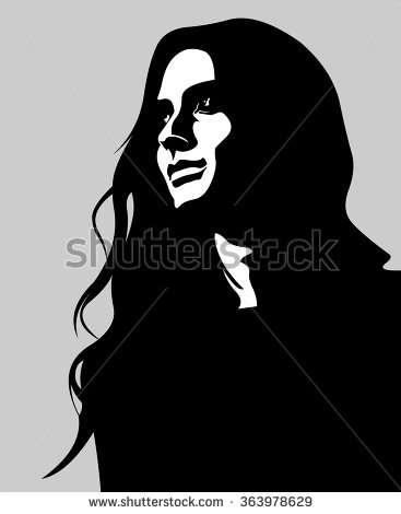 Clip Art Low Key Portrait Pensive Stock Vector 363978629.