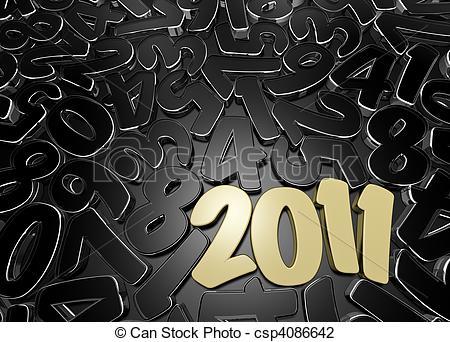 Clip Art of 2011 low key composition.