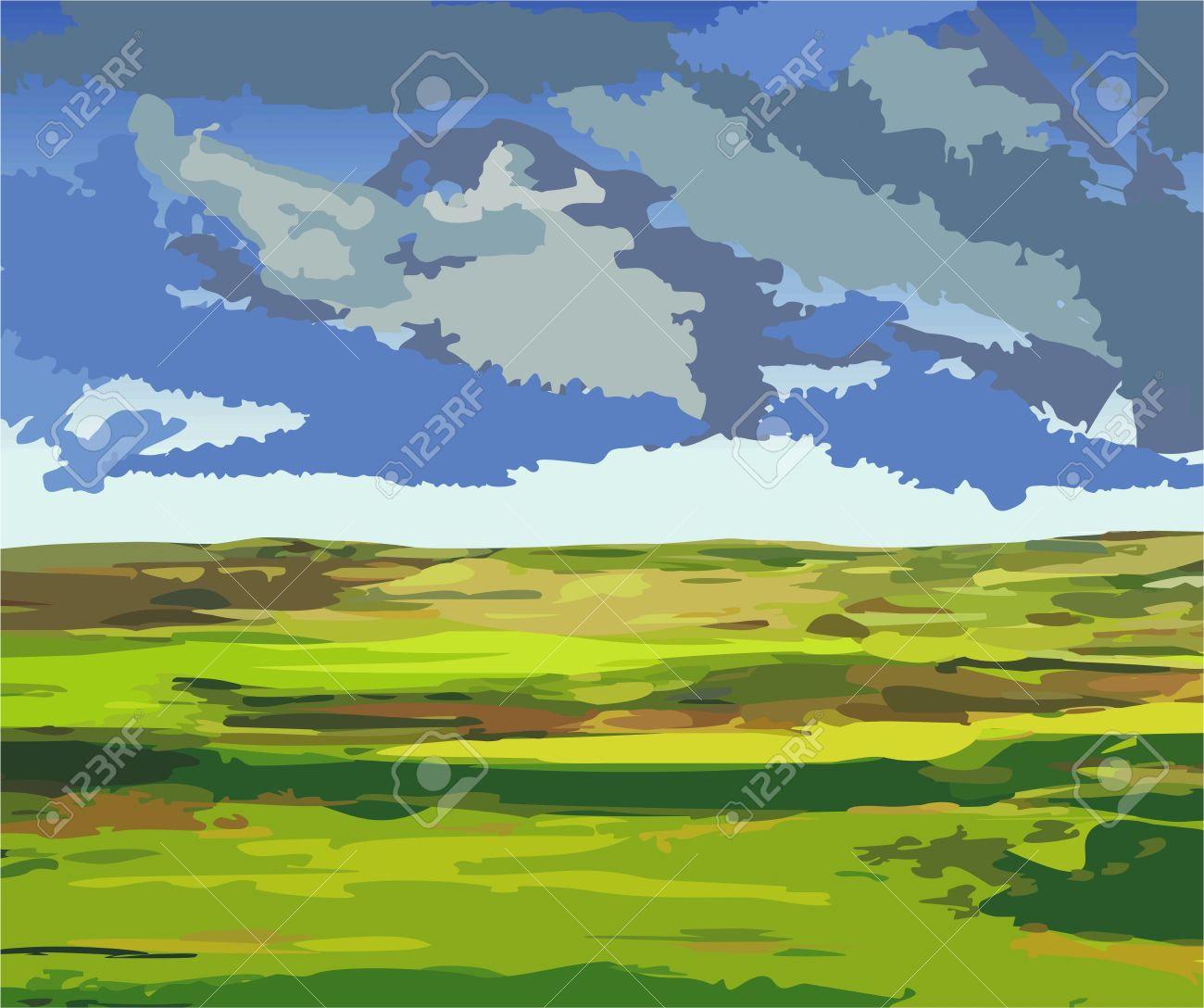Vector Illustration Of A Lowland Country, Shortly Before The.