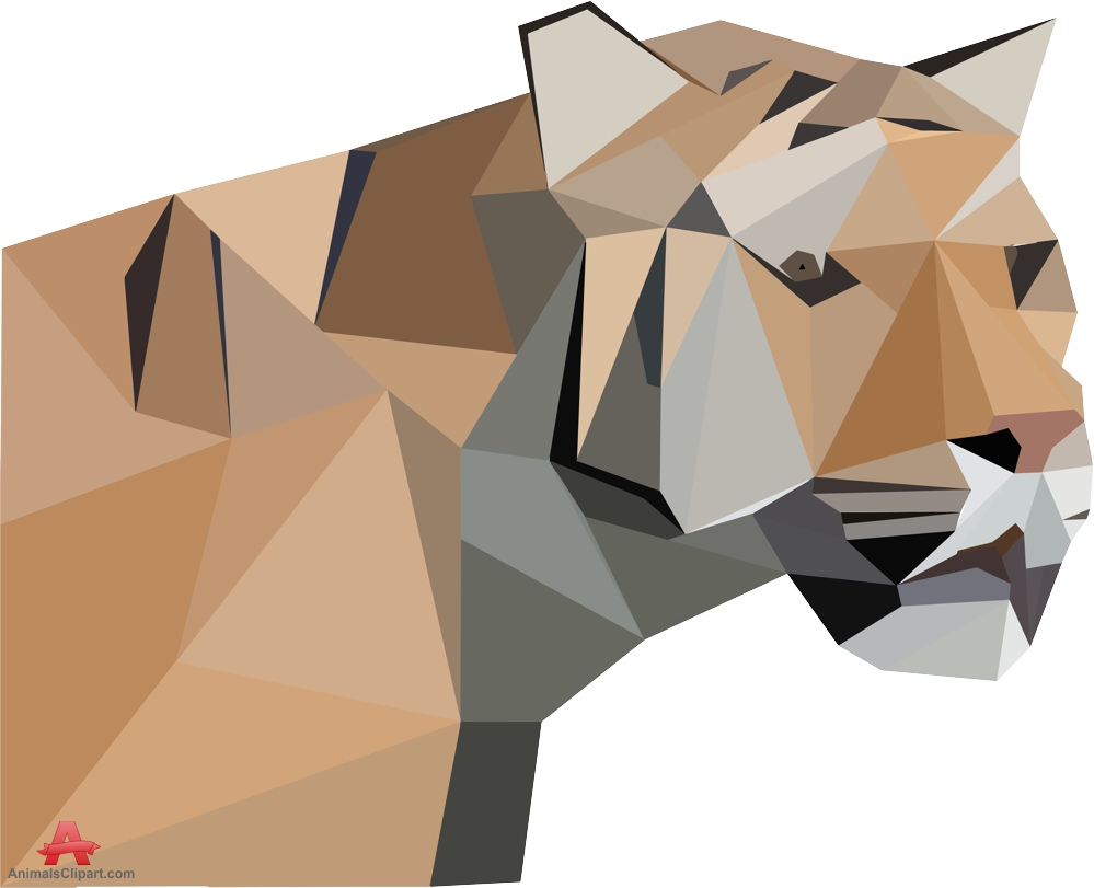 Tiger Face Low Poly Clipart.