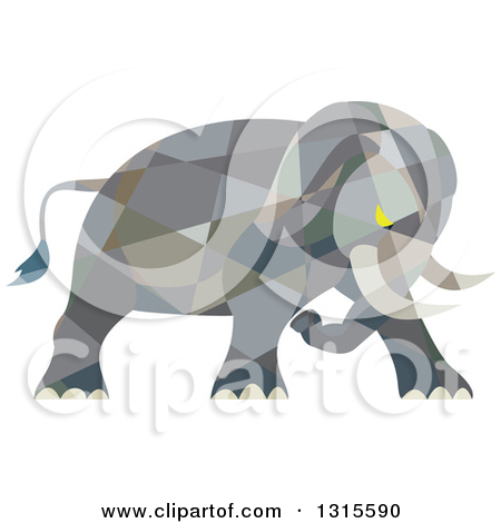 Clipart of a Retro Low Poly Geometric Angry Elephant Ready to.