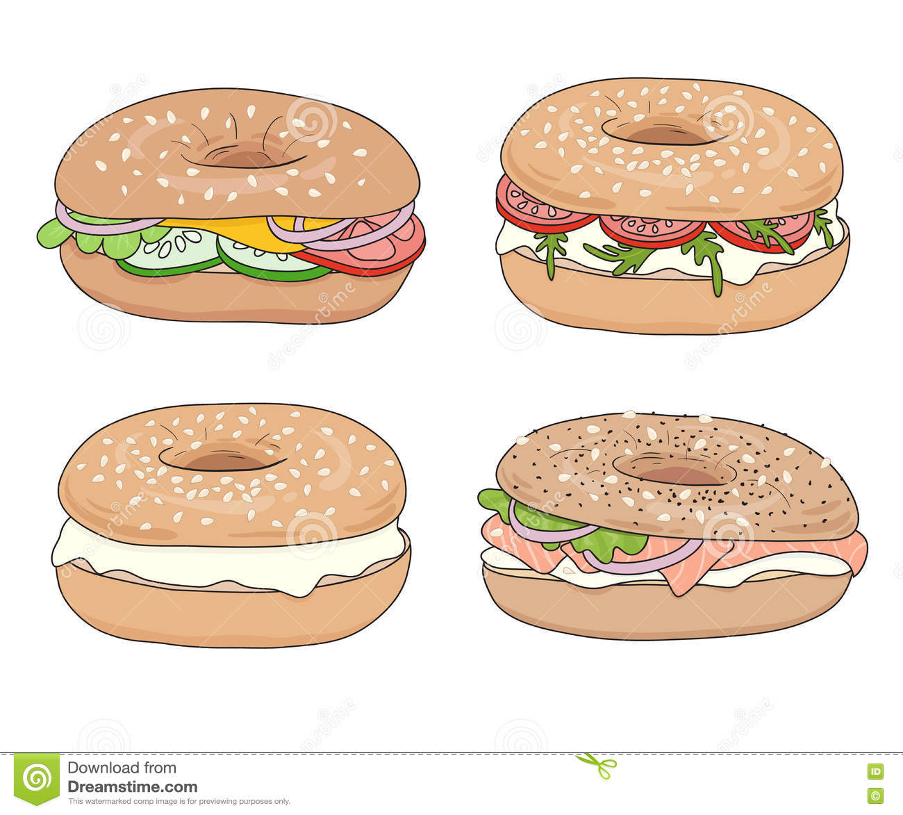 Set Of 4 Fresh Bagel Sandwiches With Different Fillings. Cream.