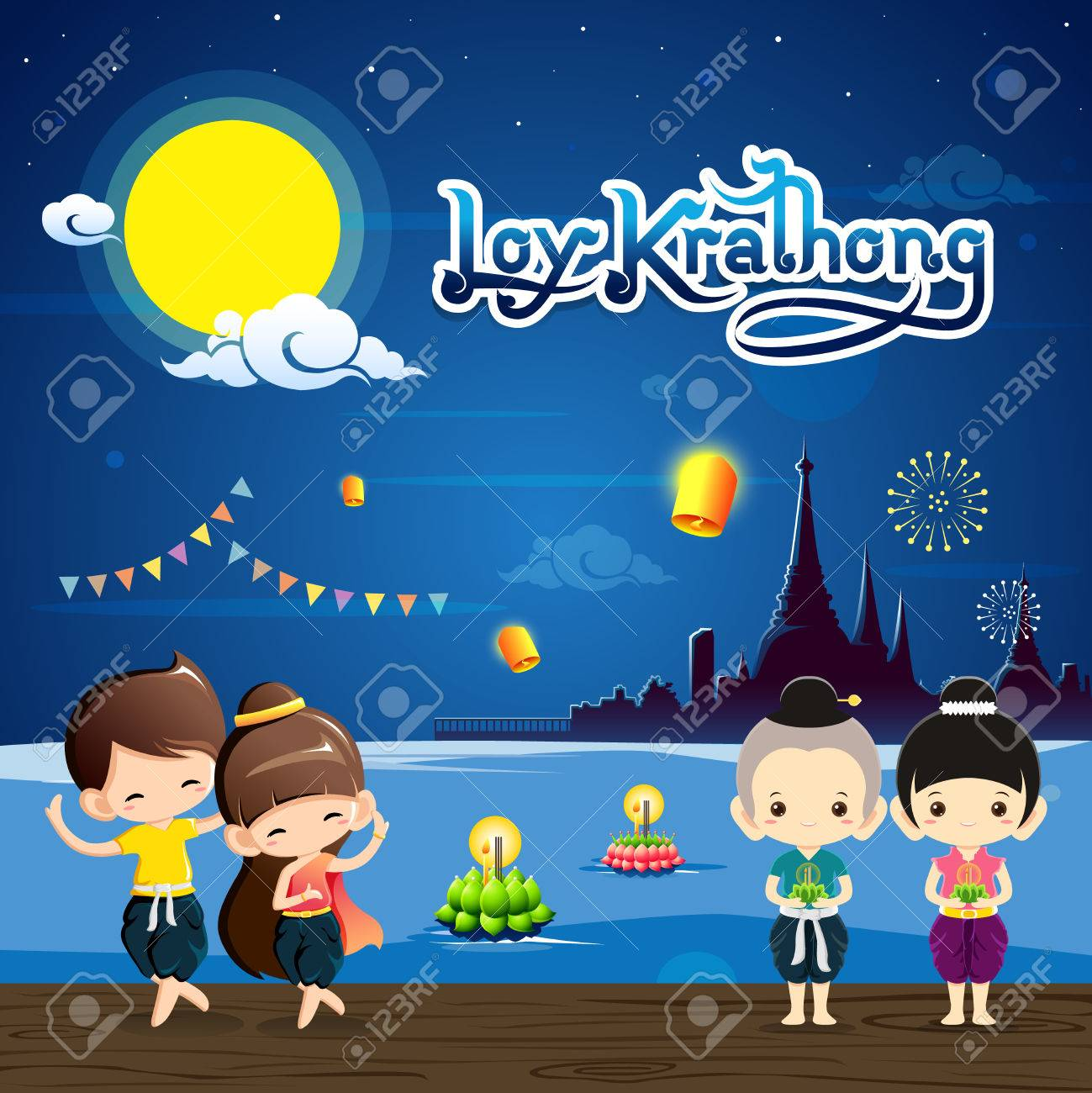 Loy Krathong Festival with cute boy&girl in national costume.Celebration...