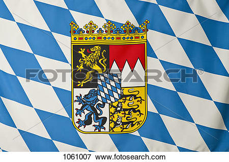 Picture of Bavaria flag, white and blue lozenges with Bavarian.