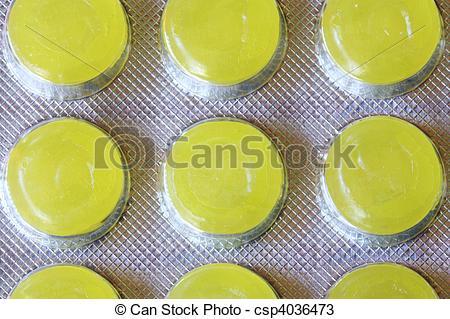 Stock Photos of Yellow throat lozenges.