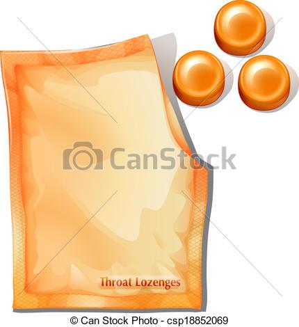 Clip Art Vector of A pack of orange throat lozenges.