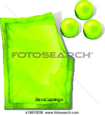 Clip Art of A pack of green throat lozenges k18810036.