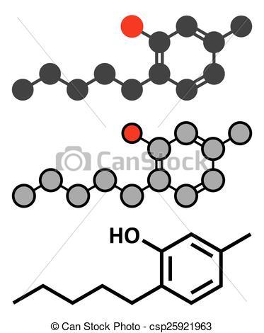 Clip Art Vector of Amylmetacresol antiseptic drug molecule. Used.