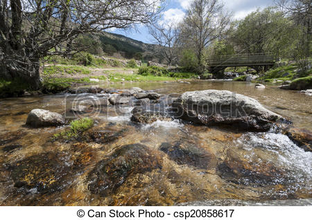 Clipart of Small stream in Lozoya Valley, Rascafria, Madrid, Spain.