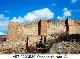 City walls buitrago del lozoya madrid province spain Stock Photo.