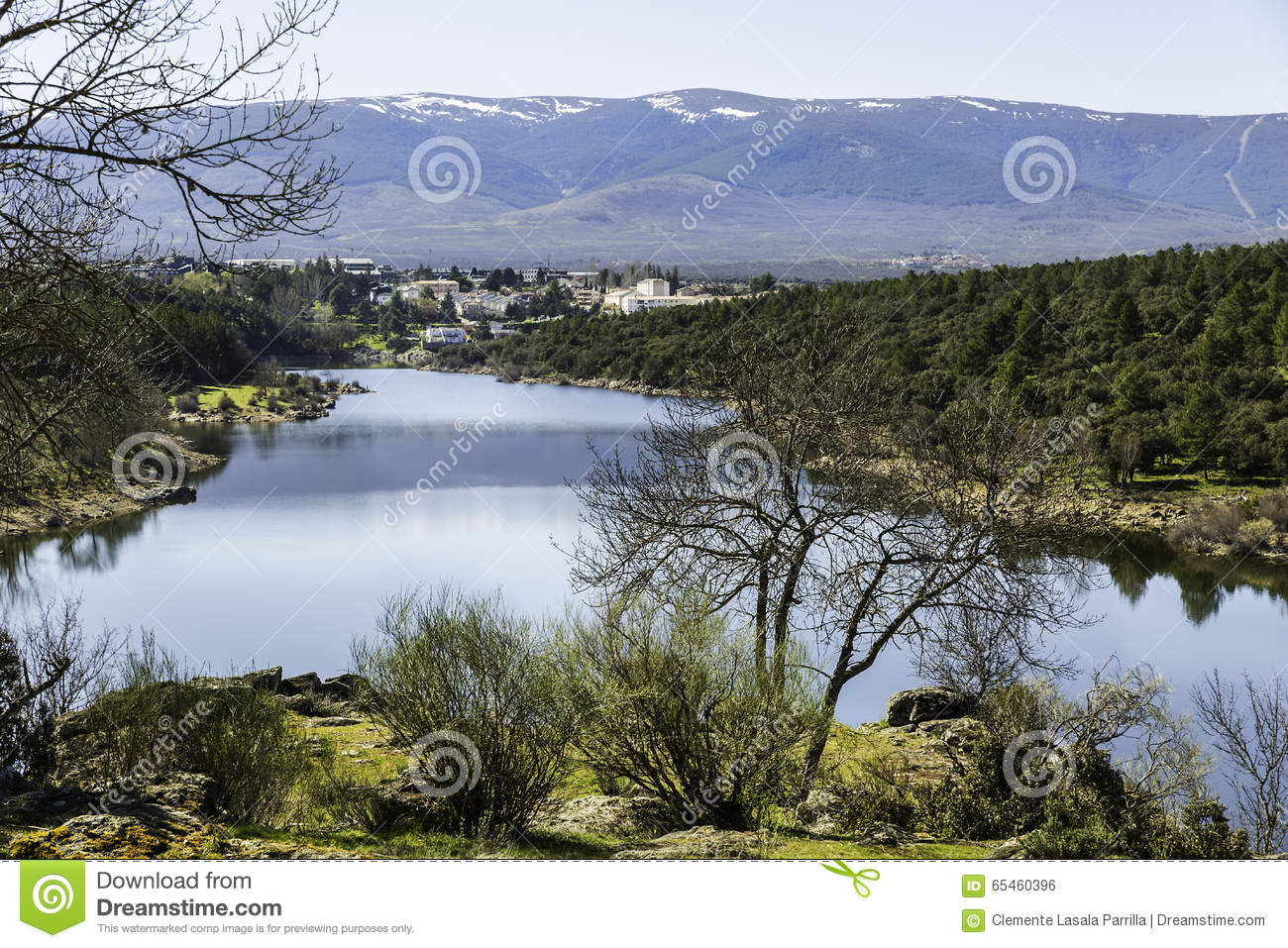 Countryside, View Of Lozoya River In Buitrago De Lozoya, Madrid.