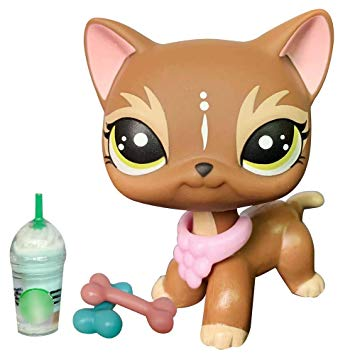 lpsloverqa Judy Elk Brown Short Hair Cat Custom OOAK Kitten Green Spot Eyes  with lps Accessories Collar Drinks Kids.