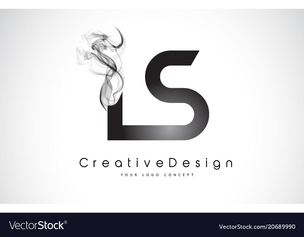 Ls letter logo design with black smoke.