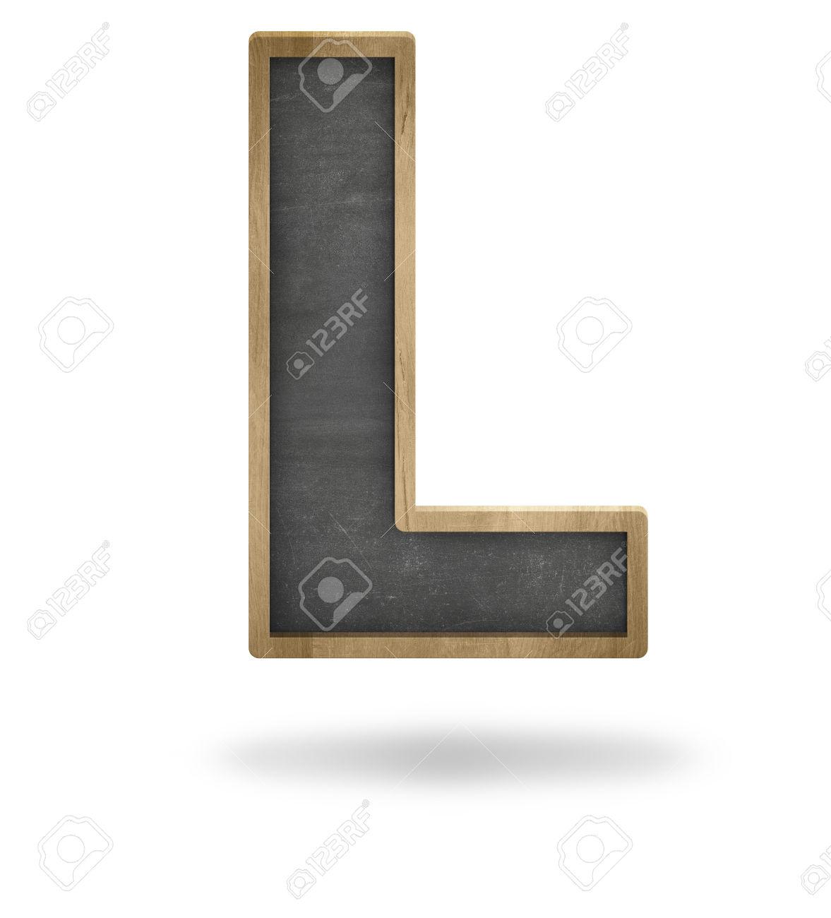Black Blank Letter L Shape Blackboard On White Background Stock.