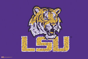 Details about LSU Tigers Football HEY FIGHTING TIGER Fight Song NCAA Team  Logo POSTER.