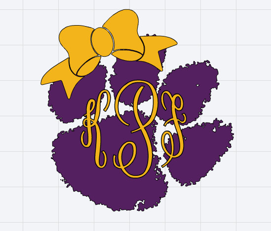 Monogrammed LSU Tigers Paw Print with Bow Inspired Decal.