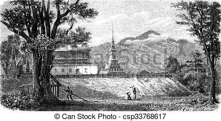 Clipart of A Lao Pagoda (Wat Luang Prabang Tomea Soc), vintage.