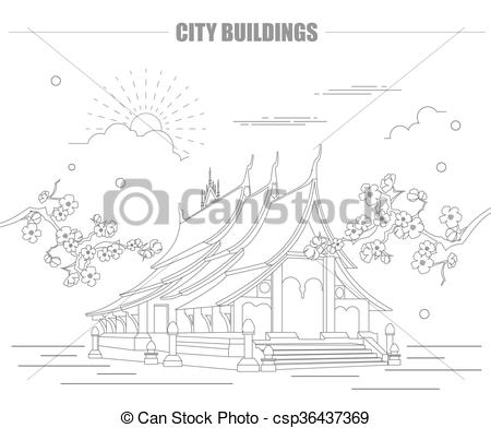 Clip Art Vector of City buildings graphic template. Laos. Luang.
