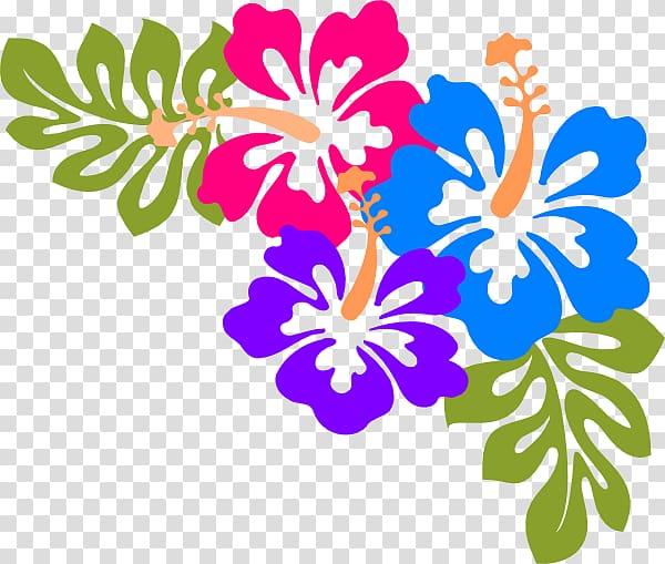 Multicolored hibiscus flowers , Cuisine of Hawaii Luau.