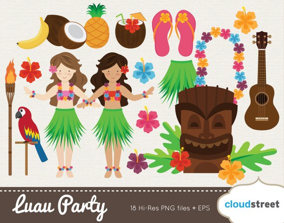 BUY 2 GET 1 FREE Vector Hawaiian Luau clip art / Luau.