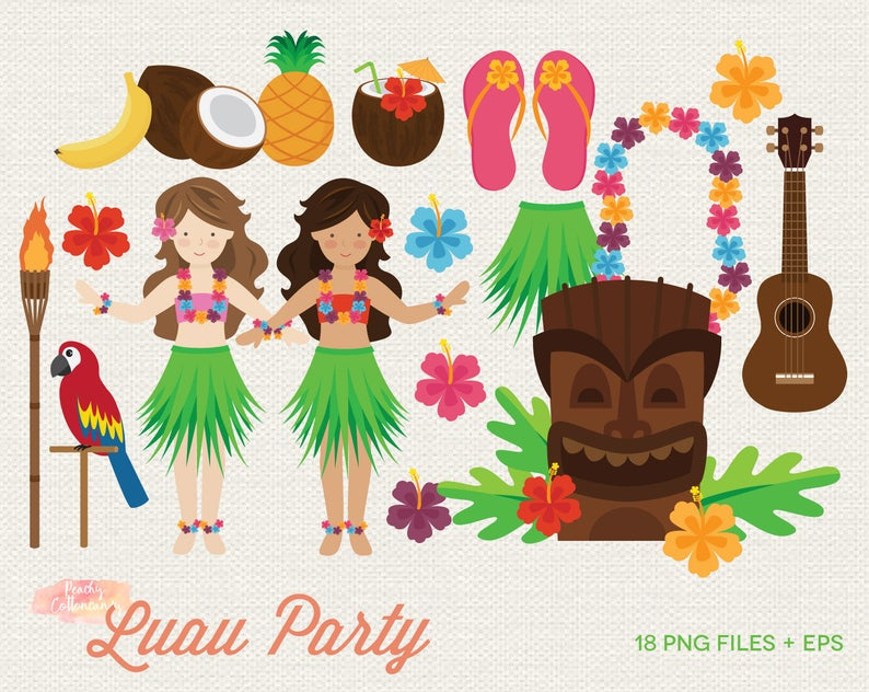 BUY 2 GET 1 FREE Luau Party Clipart.