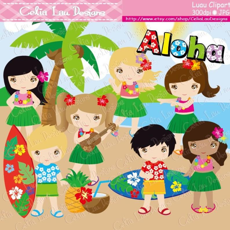 Luau Party Clipart, Cute Hula Girl and boy clipart / Hawaiian party  (CG050)/ Aloha Clipart / for Personal and Commercial / INSTANT DOWNLOAD.