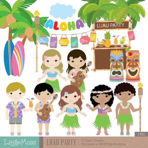 Luau Party Digital Clipart, Aloha Clipart, Hawaii clipart.