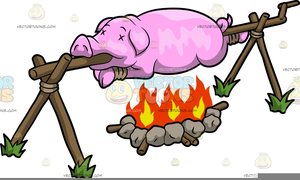 Pig Luau Clipart.