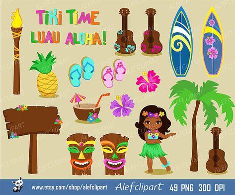 Luau Clipart, Hawaii Clipart, Hula Girl ClipArt , Aloha.