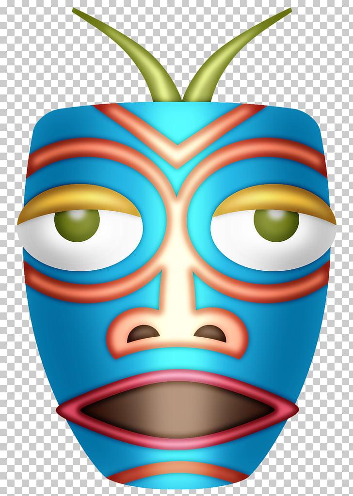 Hawaiian language Aloha Luau , tiki mask PNG clipart.