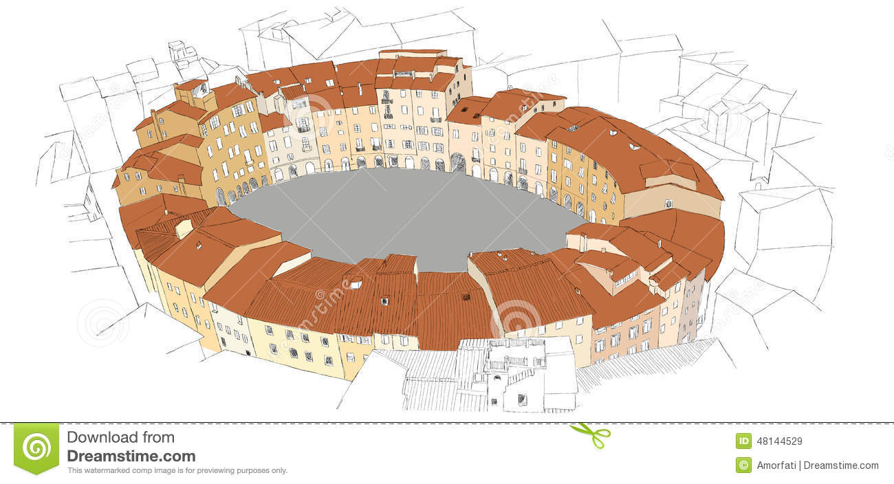 Oval City Square In Lucca, Italy Stock Vector.